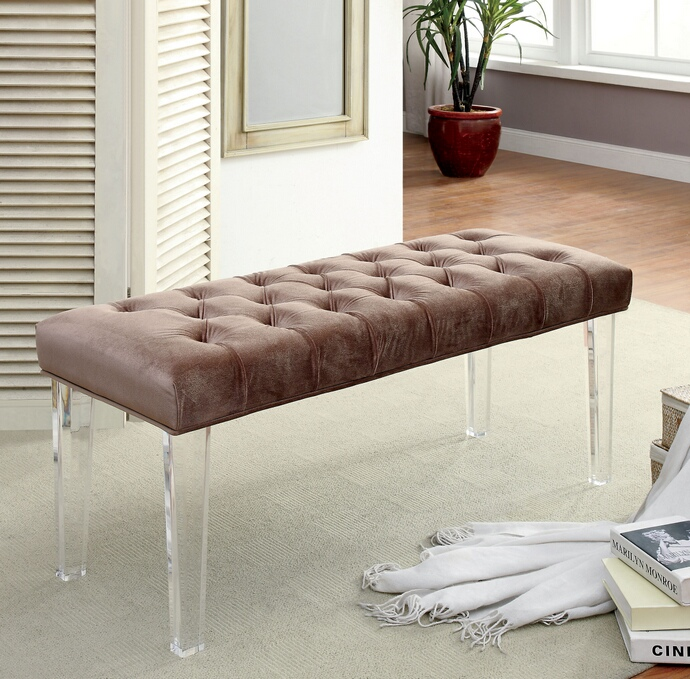 CM-BN6202BR Mahony collection brown padded flannelette padded seat and clear acrylic legs bedroom bench
