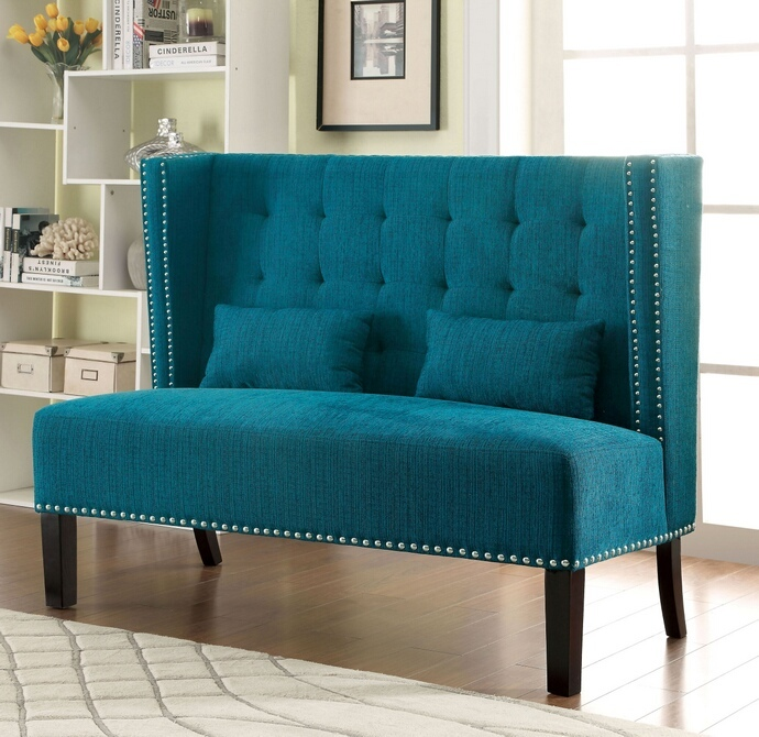 CM-BN6226TL Amora collection mid-century style high back wing chair love seat with teal fabric upholstery with tufted back