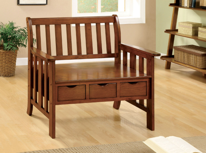 Furniture of america CM-BN6300 Pine crest oak solid wood finish country style bench with 3 under seat drawers