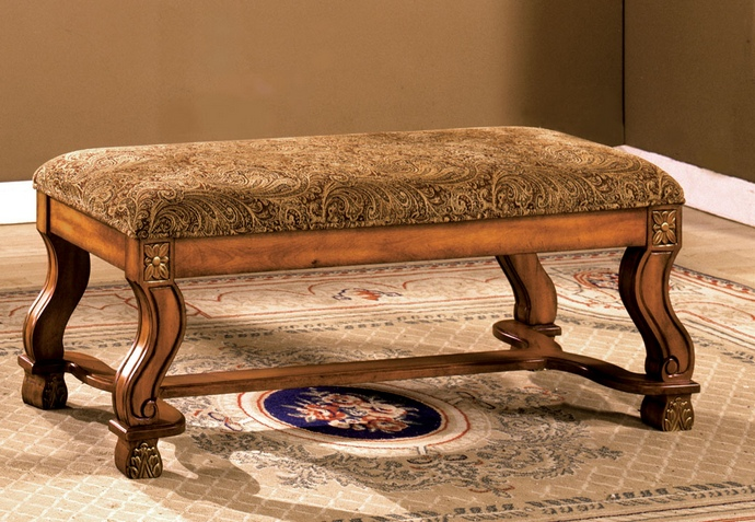 CM-BN6620 Vale royal floral fabric padded seat bench with decorative carved legs in antique oak solid wood finish