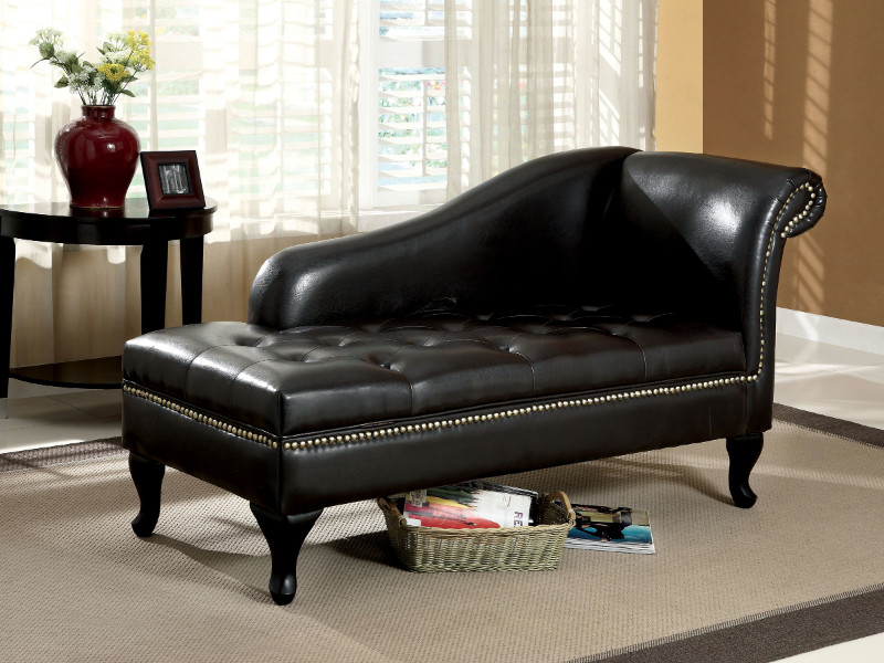 Furniture of america CM-BN6893 Lakeport black leather like vinyl tufted seat chaise lounger with storage