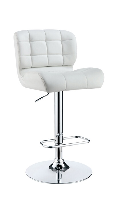 CM-BR6152WH Kori collection contemporary style white tufted back padded leatherette and chrome adjustable bar stool