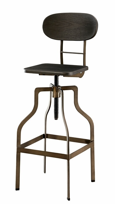 CM-BR6233DK Leith collection dark metal finish frame with dark oak finish wood block swivel seat with back bar stool
