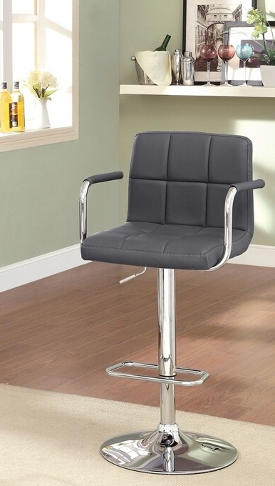 CM-BR6917-GY Corfu collection contemporary style gray leather like vinyl adjustable swivel bar stool with tufted backrest