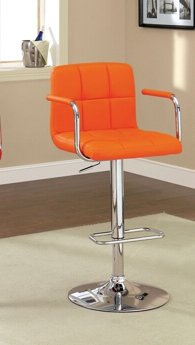 CM-BR6917-OR Corfu collection contemporary style orange leather like vinyl adjustable swivel bar stool with tufted backrest
