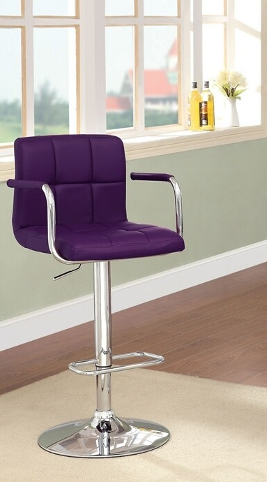 CM-BR6917-PR Corfu collection contemporary style purple leather like vinyl adjustable swivel bar stool with tufted backrest