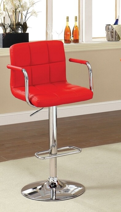 CM-BR6917-RD Corfu collection contemporary style red leather like vinyl adjustable swivel bar stool with tufted backrest