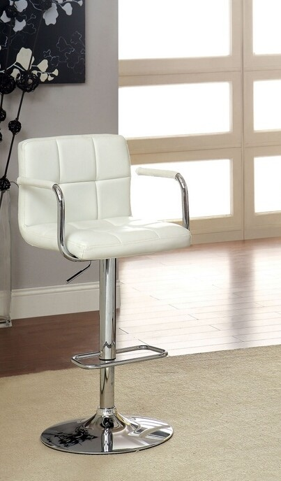 CM-BR6917-WH Corfu collection contemporary style white leather like vinyl adjustable swivel bar stool with tufted backrest