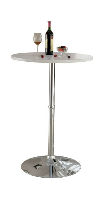 CM-BT6150WH Nessa collection contemporary style round white and chrome bar table