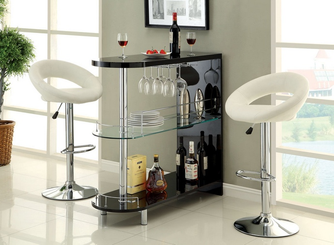CM-BT8333BK Numbi modern style black lacquered finish and glass mini bar server island table