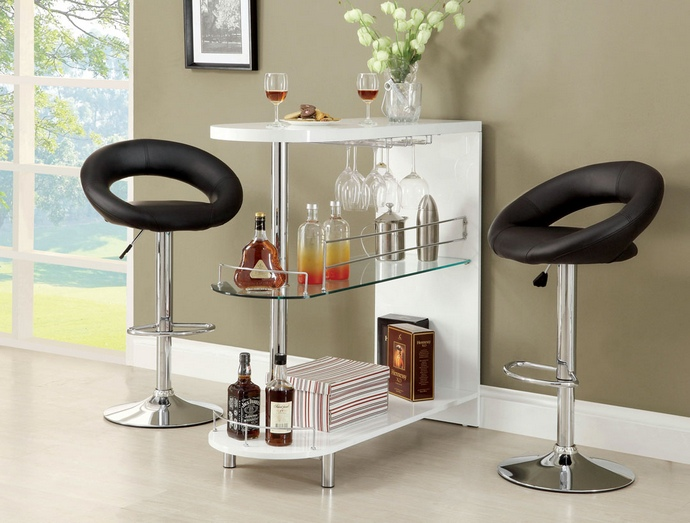 CM-BT8333WH Numbi modern style white lacquered finish and glass mini bar server island table