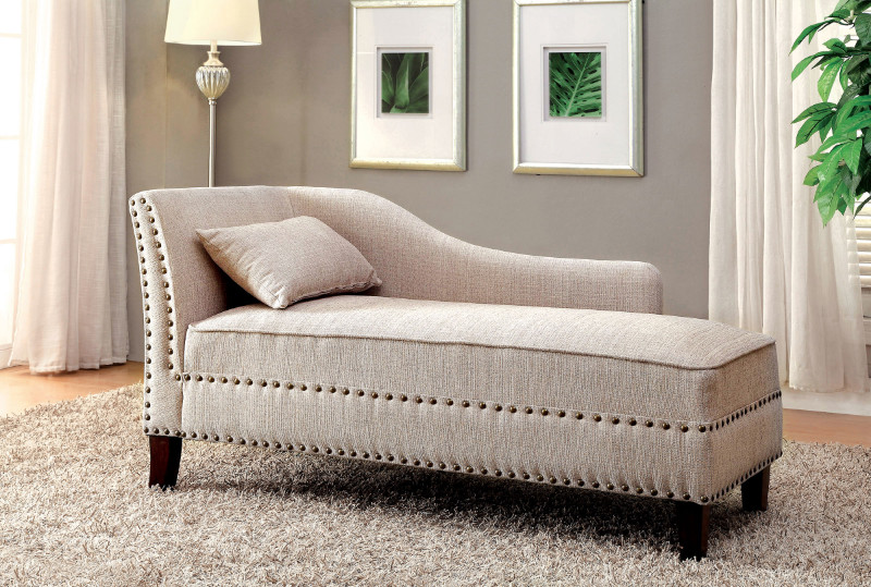 Furniture of america CM-CE2185BG Still water beige linen like fabric chaise lounge with nail head trim accents