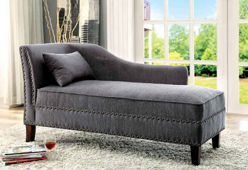 CM-CE2185GY Still water collection gray linen like fabric padded chaise lounge with nail head trim accents
