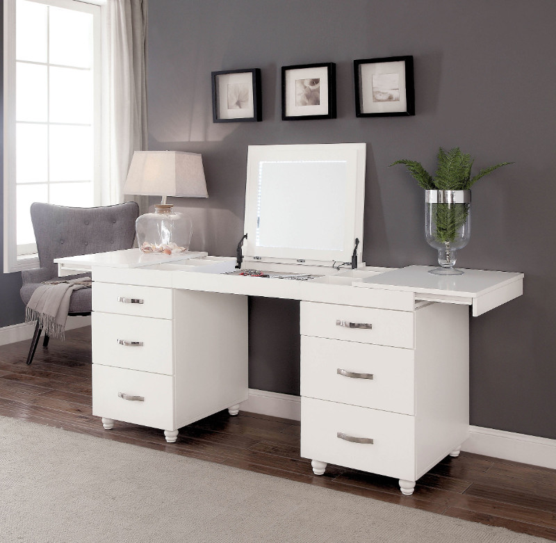 Furniture Of America Cm Dk6103 Verviers White Finish Wood Modern Style Make Up Vanity Desk