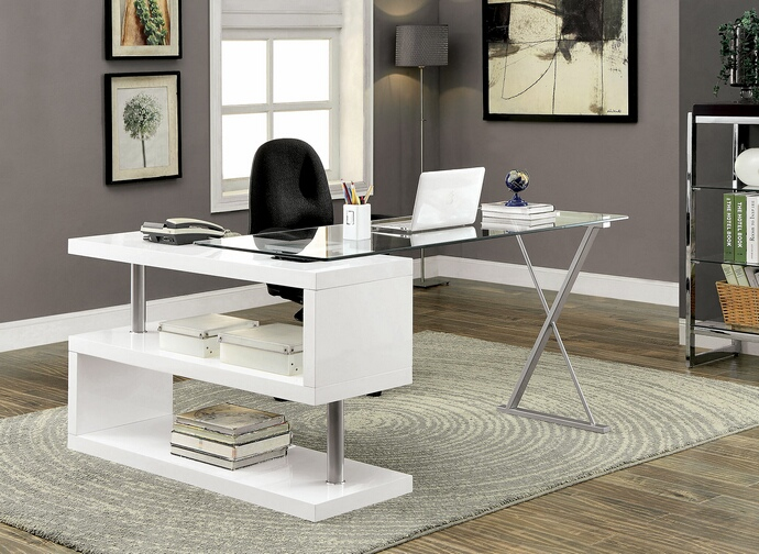 CM-DK6131WH Bronwen collection white finish wood and glass top l shaped convertible desk