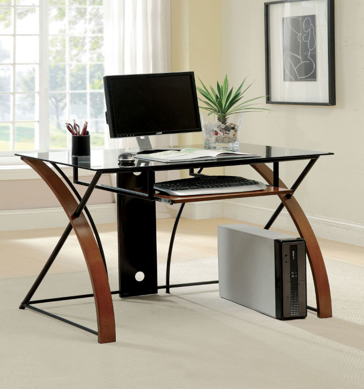 Furniture of america CM-DK6216 Baden oak and black wood metal and glass writing computer desk