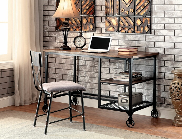 CM-DK6276 Cori collection industrial stye replicated wood top and antique black metal frame desk