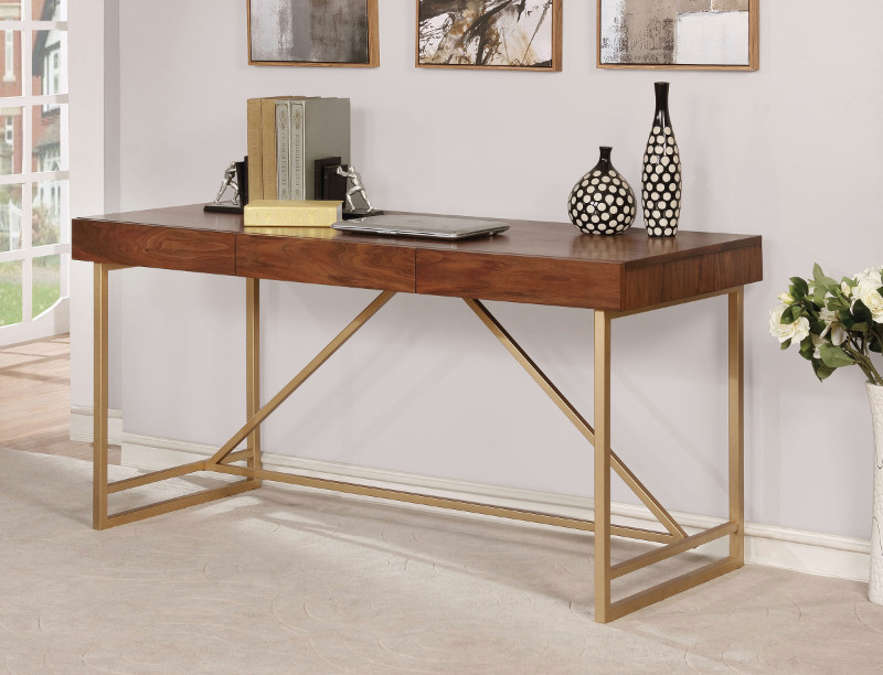 Furniture of america CM-DK6447 Halstein walnut wood gold finish metal frame modern style writing desk
