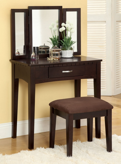 CM-DK6490 3 pc potterville espresso finish wood bedroom make up vanity sitting table set with tri fold mirror