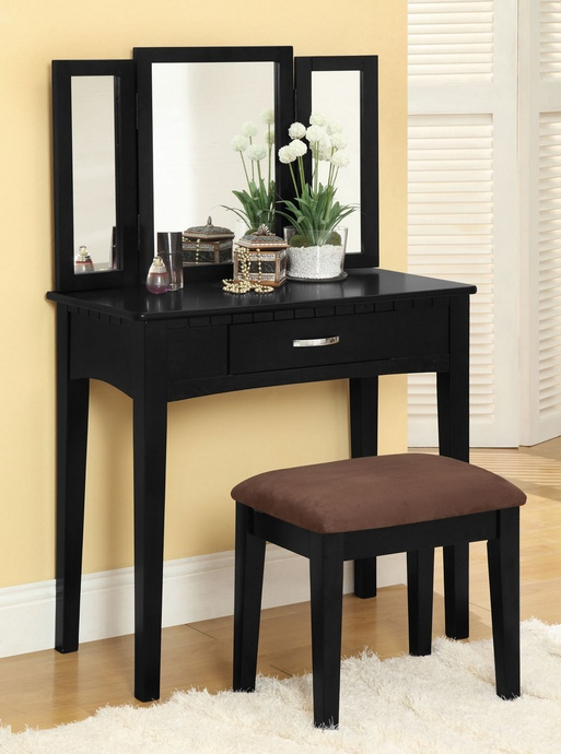 CM-DK6490BK 3 pc Potterville black finish wood bedroom make up vanity sitting table set with tri fold mirror