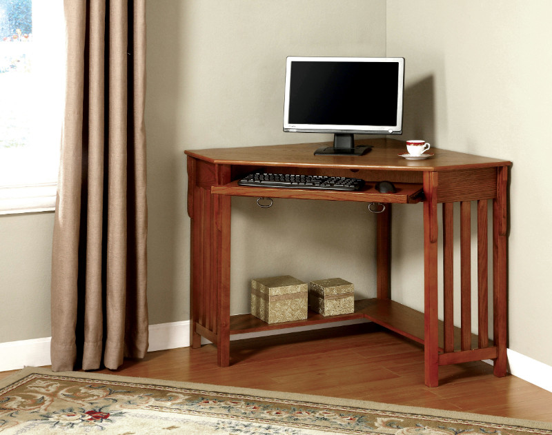 Furniture of america CM-DK6641 Toledo oak wood finish corner desk with slide out keyboard drawer