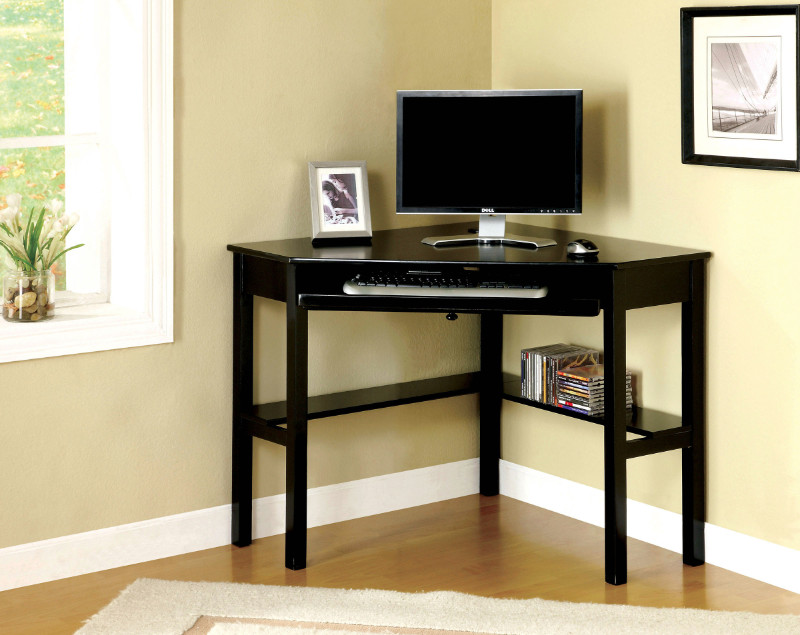 Furniture of america CM-DK6643 Porto black wood finish corner desk with slide out keyboard drawer