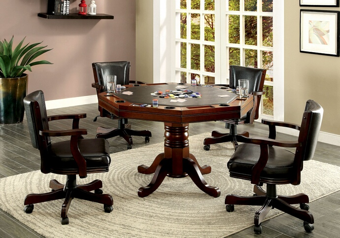 CM-GM339 5 pc Rowan collection cherry finish wood man cave poker, gaming, dining table set with swivel chairs