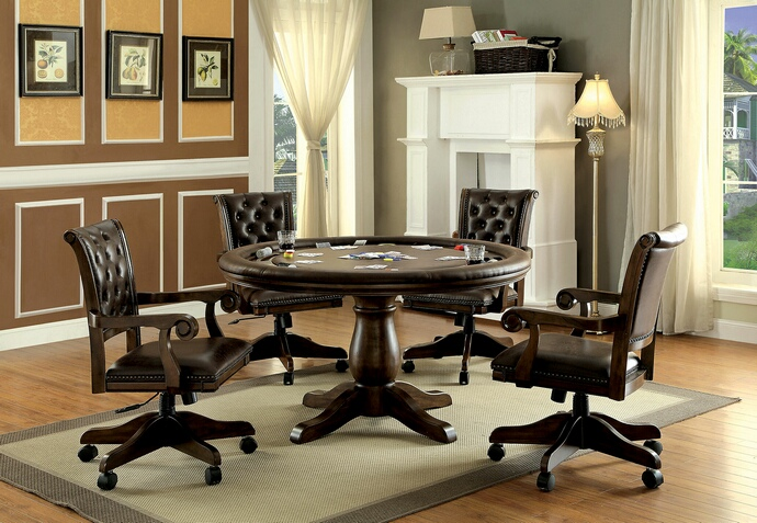 CM-GM347T 5 pc kalia collection brown finish wood contemporary style round poker game table set