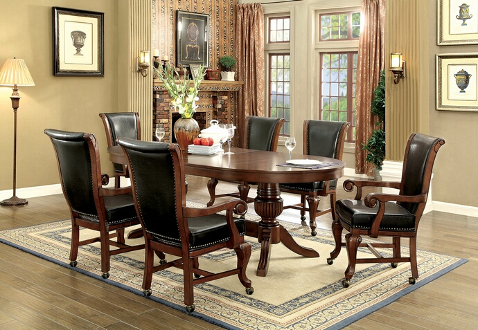 CM-GM367CH 7 pc melina collection brown cherry finish wood contemporary style oval poker game/ dining table set