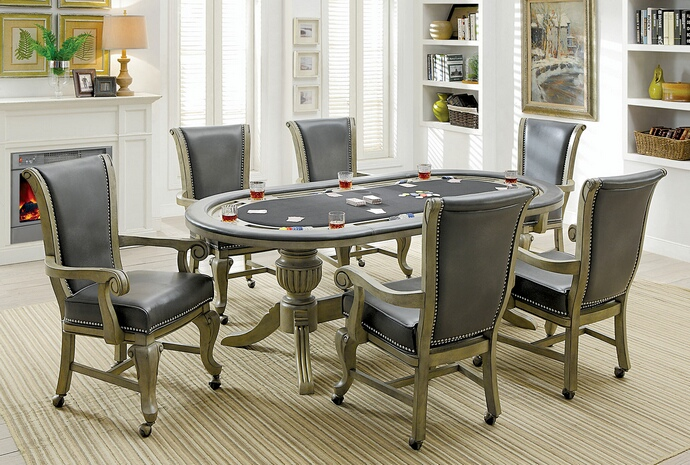 CM-GM367GY 7 pc melina collection gray finish wood contemporary style oval poker game/ dining table set