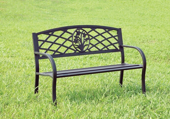 CM-OB1809 Minot collection black finish steel park bench with scroll  details on the back