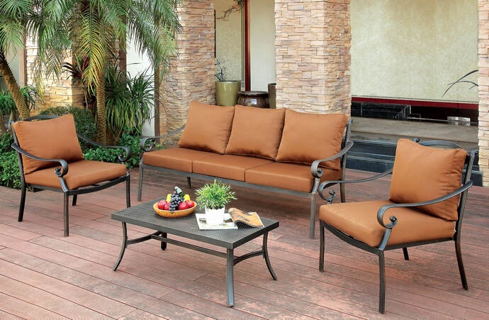CM-OS2501 4 pc bonquesha i collection transitional style out door distressed black finish metal sofa and chair set