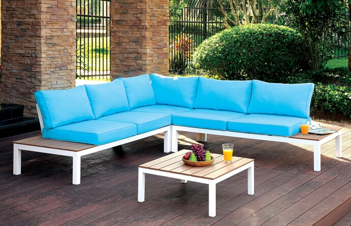 CM-OS2580 4 pc Winona collection white aluminum frame and blue fabric cushions outdoor patio sectional and table