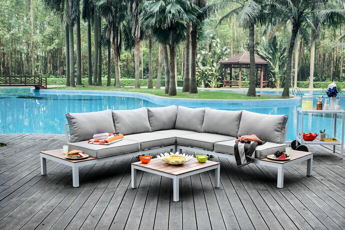 CM-OS2580GY 4 pc winona collection white aluminum frame and gray fabric cushions outdoor patio sectional and table