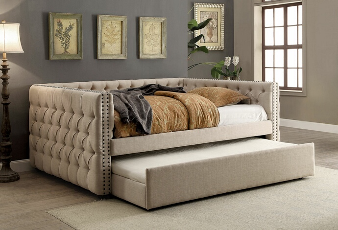CM1028F Suzanne collection ivory tufted linen like fabric upholstered full size day bed