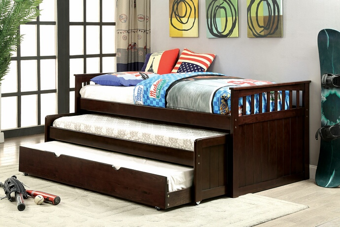 CM1610-TR452-EXP Gartel collection dark walnut finish wood frame day bed with double pull out trundle