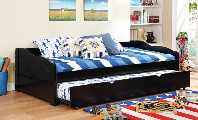 CM1737BK Sunset collection traditional style low profile style black finish wood day bed with trundle