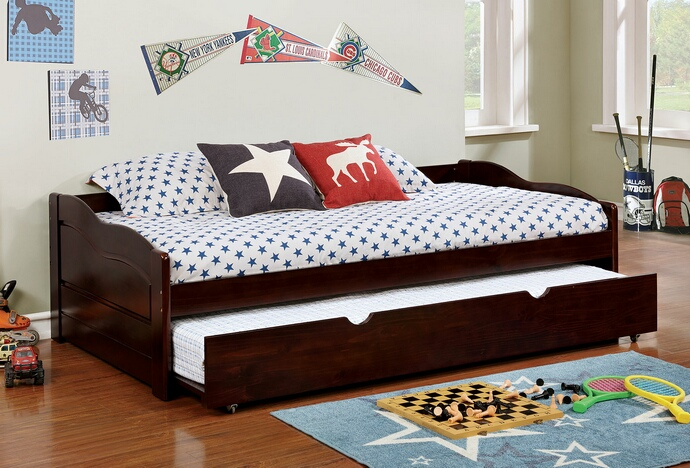 CM1737EX Sunset collection traditional style low profile style espresso finish wood day bed with trundle
