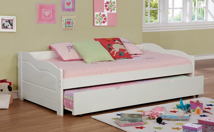 CM1737WH Sunset collection traditional style low profile style white finish wood day bed with trundle