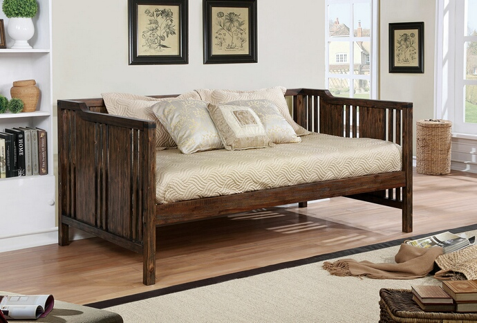 CM1767 Petunia collection transitional style dark walnut finish wood mission style day bed