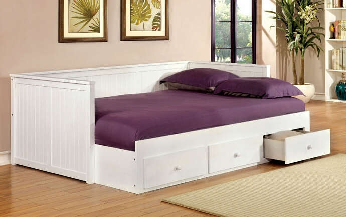 CM1927WH Wolford collection white finish wood frame full size day bed with drawers
