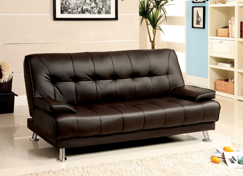 CM2100 Beaumont Contemporary Dark Brown Finish Leatherette Futon Sofa Bed