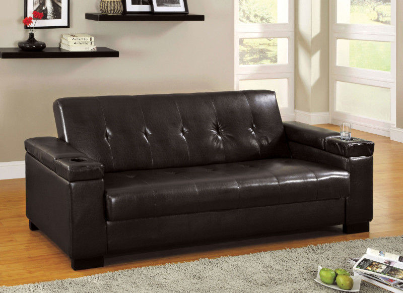 CM2123 Logan Contemporary Style Design Espresso Finish Leatherette Seat Futon Sofa with Storage under Armrest and Seat, Drink Holders in Armrest