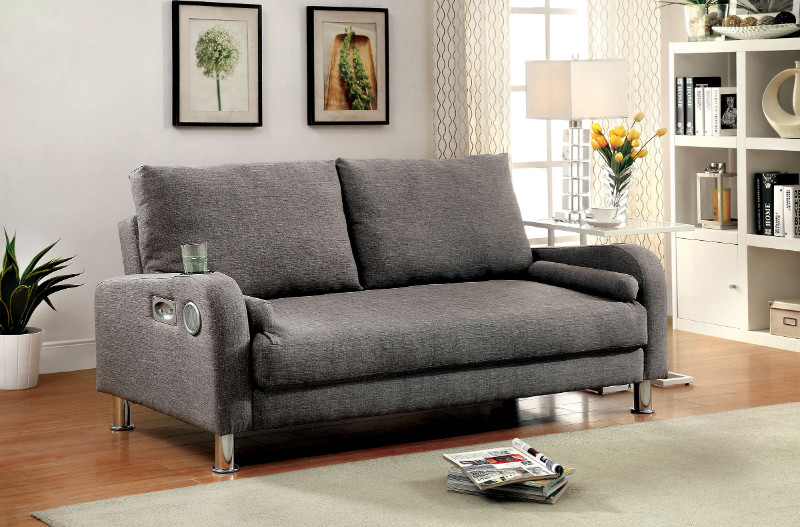 Furniture of america CM2195 Raquel grey linen like fabric folding futon sofa bed with speakers
