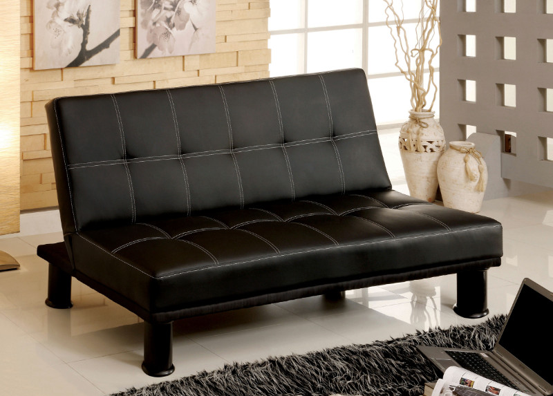 Furniture of america CM2394 Quinn black finish leatherette futon sofa bed