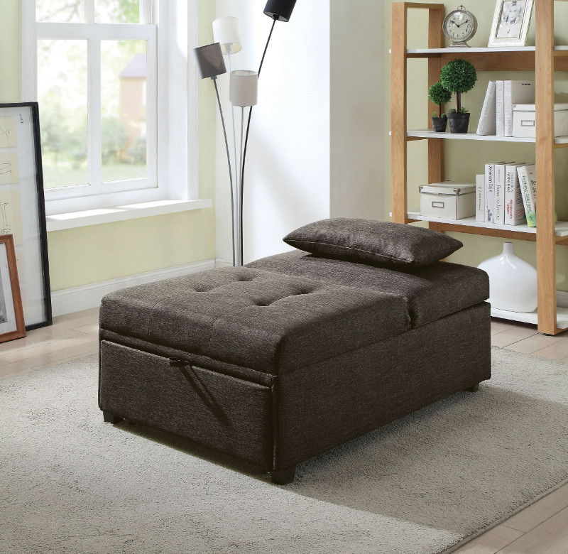 Furniture of america CM2543DG Oona dark gray linen like fabric folding ottoman chaise sofa bed