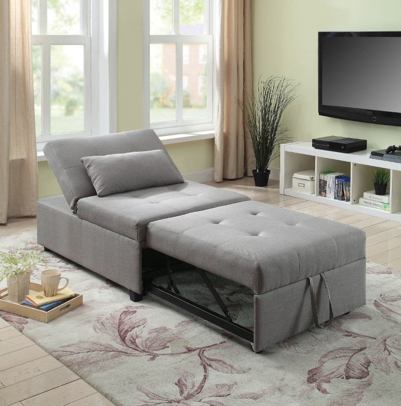 Furniture of america CM2543GY Oona gray linen like fabric folding ottoman chaise sofa bed