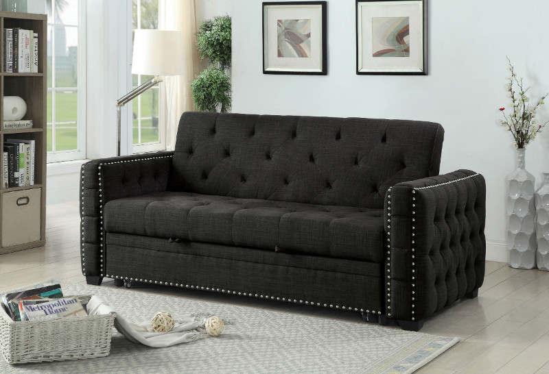 Furniture of america CM2604 Iona gray linen like fabric folding futon sofa bed