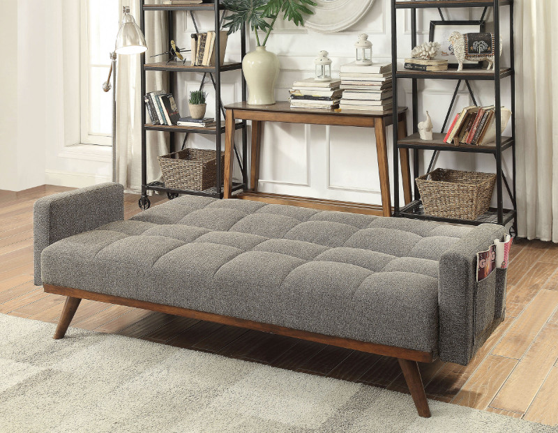 Furniture of america CM2605 Nettie grey linen like fabric folding futon sofa bed with wood accents