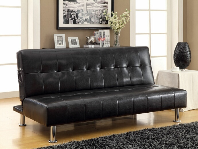 CM2669P-BK Bulle collection black leatherette upholstered tufted top futon folding sofa bed with side pockets and chrome legs